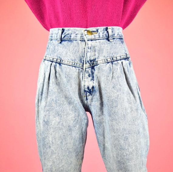 vintage 80s acid wash high waisted jeans - image 3