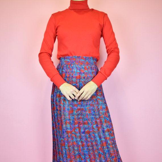 vintage 80s designer blue floral skirt