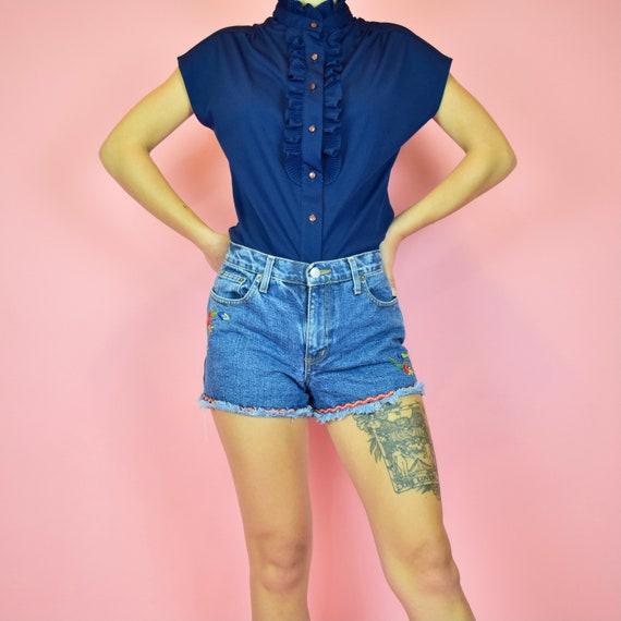 vintage 60s navy blue frill blouse - image 1