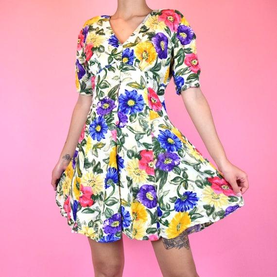 vintage 80s floral mini dress