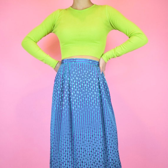 vintage 60s teal pinstriped midi skirt
