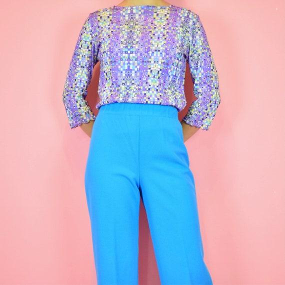 vintage 70s sky blue high waisted pants - image 1