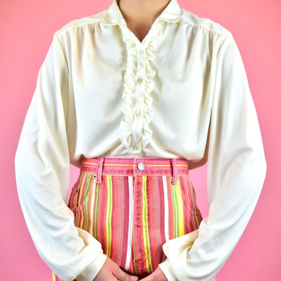 vintage 70s cream peasant blouse