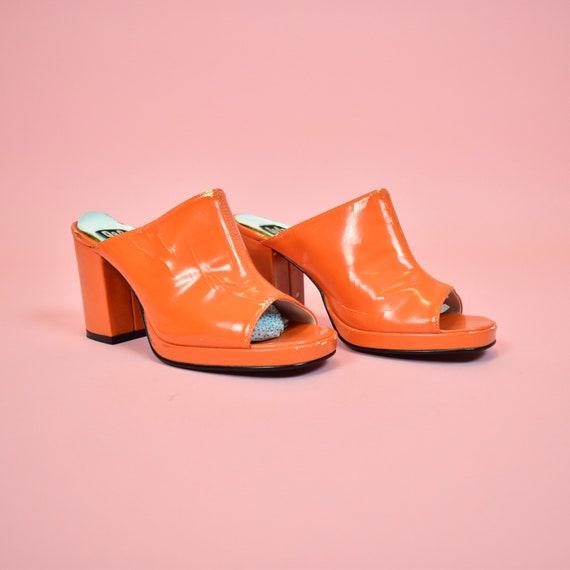 vintage 90s orange high heeled mules - image 1