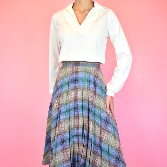 vintage 60s pink plaid skirt