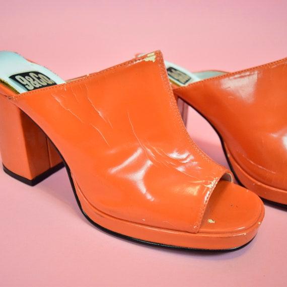 vintage 90s orange high heeled mules - image 2