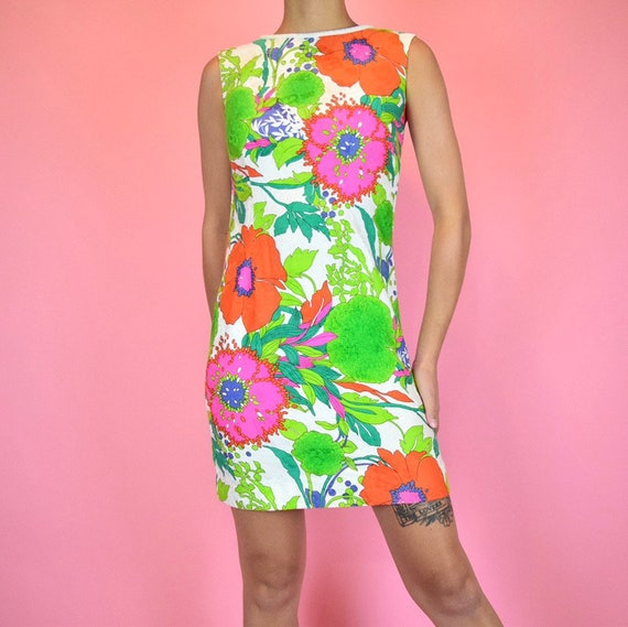 vintage 60s mod floral dress - image 2