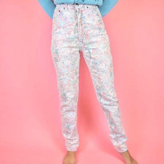 vintage 80s pink paisley floral jeans - image 4
