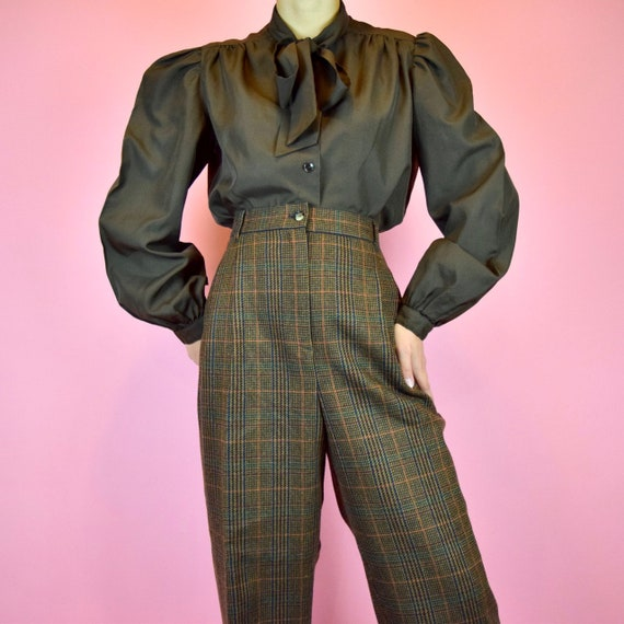 vintage 70s dark brown blouse