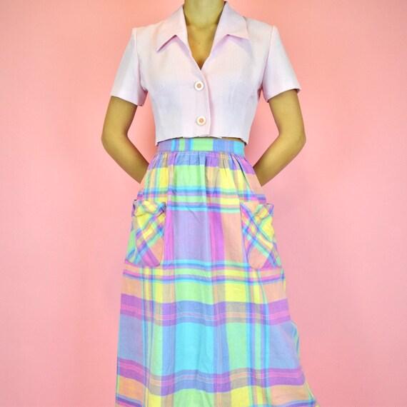 vintage 60s rainbow plaid skirt