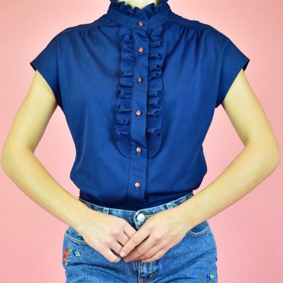 vintage 60s navy blue frill blouse - image 2