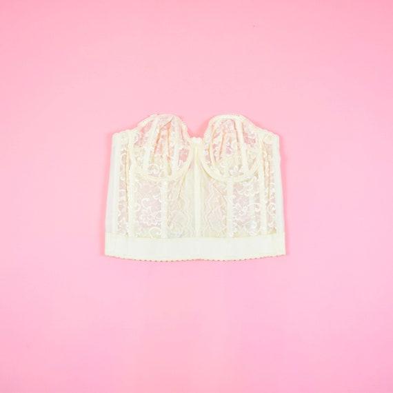vintage 90s cream white lace corset top - image 5