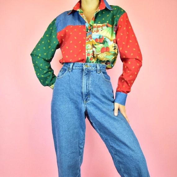 vintage 90s red fleece lined mom jeans