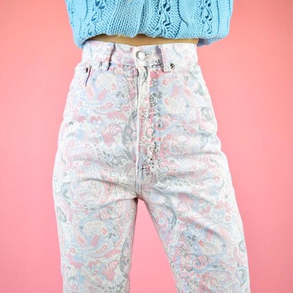 vintage 80s pink paisley floral jeans - image 3