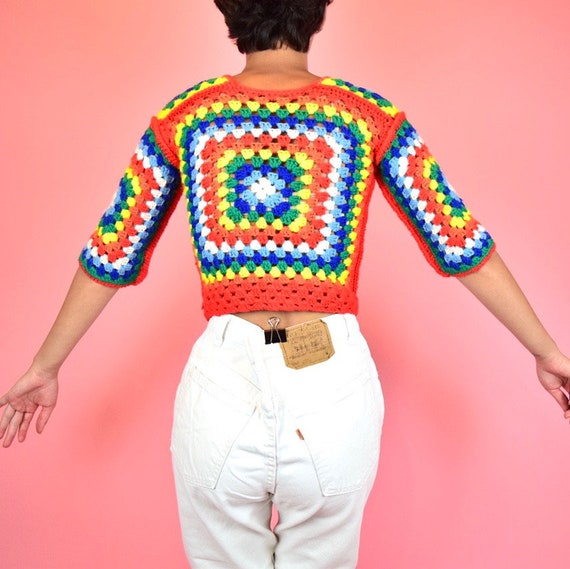 vintage 70s rainbow crochet crop top - image 4