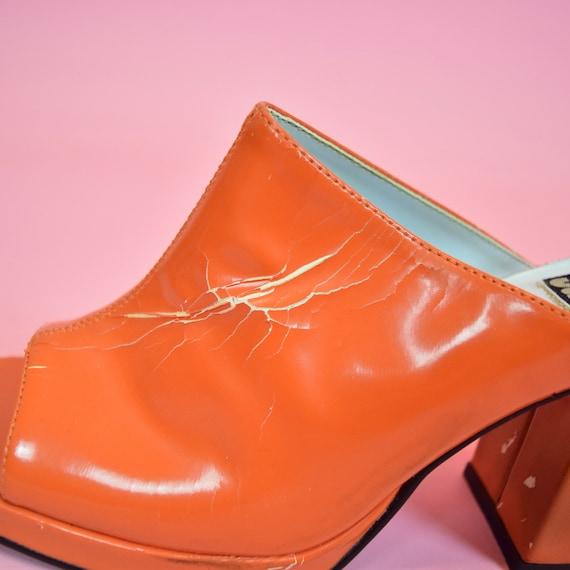 vintage 90s orange high heeled mules - image 7