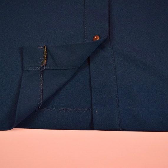 vintage 60s navy blue frill blouse - image 8