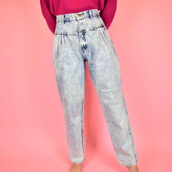 vintage 80s acid wash high waisted jeans - image 4