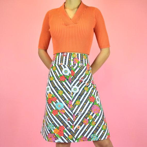 vintage 70s psychedelic floral skirt