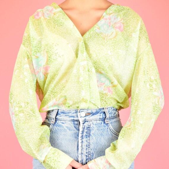 vintage 70s green floral blouse