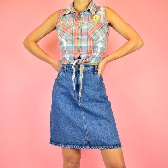 vintage 90s blue denim mini skirt