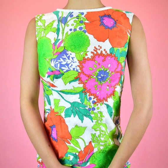vintage 60s mod floral dress - image 3