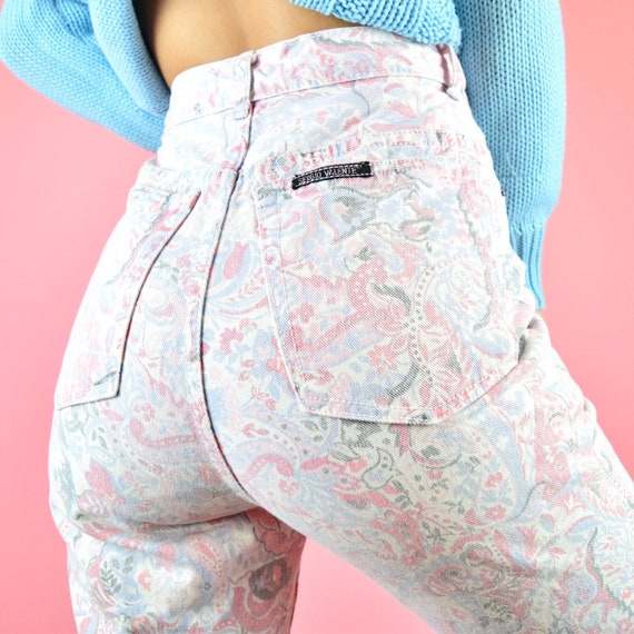 vintage 80s pink paisley floral jeans