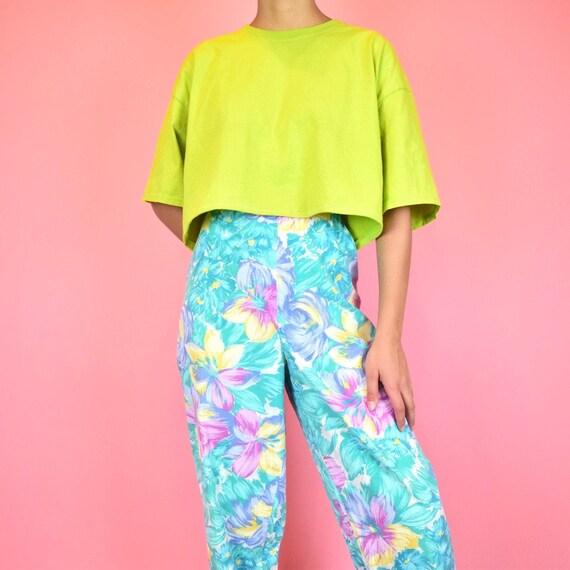 vintage 80s teal tropical pants