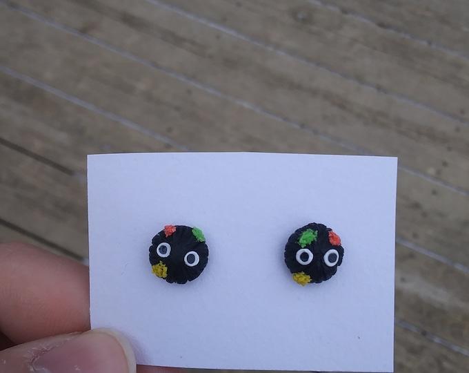Polymer clay soot sprite earrings