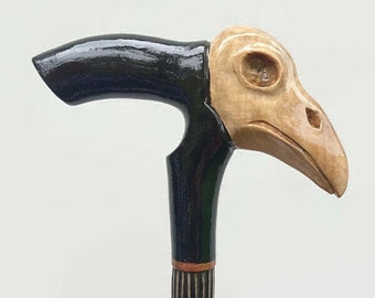 Wooden cane raven Carved handle and staff Wood walking stick Hand carved Hiking stick raven Walking canes raven Gift for hikers. Wooden Cane