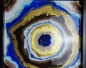 Resin painting - Geode wall art - Blue Heart