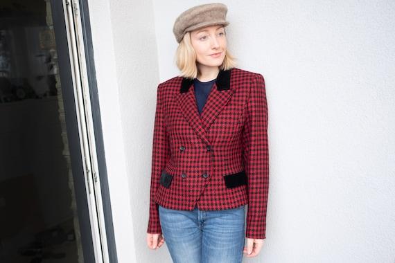 Vintage Oversized Blazer, Wool Houndstooth Jacket,