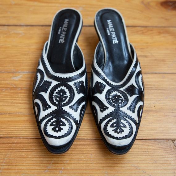 Elegant Vintage Slippers, Closed Toe Ornament Sli… - image 1