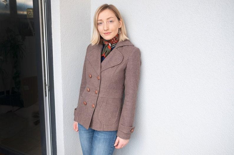 Size S Womens Winter Coat Vintage Wool Coat Short Warm Women Coat Women Second Hand Clothing