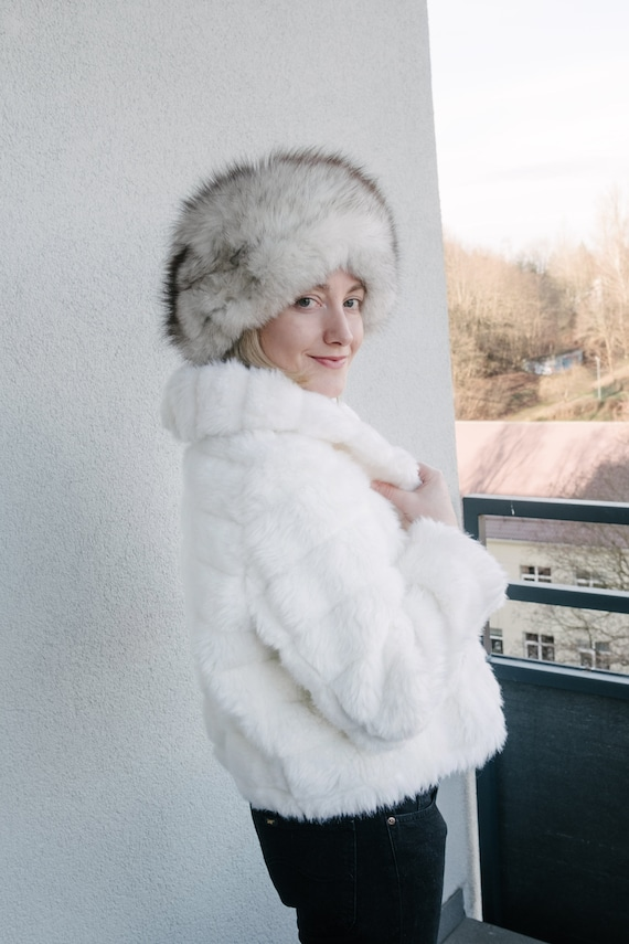 Vintage Real Fur Hat, Second Hand Russian Style Ha
