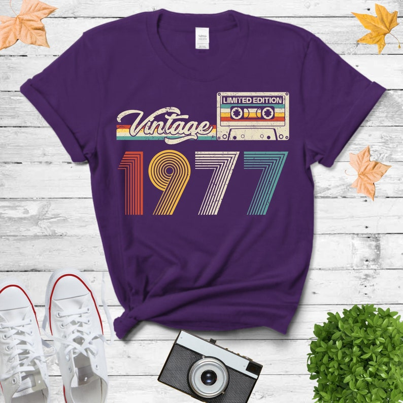 Vintage 1977 Shirt 44th Retro Style 44th Vintage Birthday Gifts For Him 1977 Cassette Tape Birthday Gift Limited Edition Shirt For Her