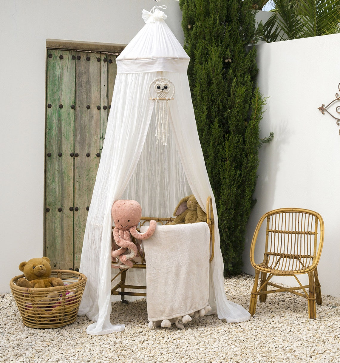 The Anisa Luxury Baby Bed Canopy | 100% Organic Cotton and Rattan Frame | Handmade in Bali | Comes with a Balinese Owl | Boho Baby Room