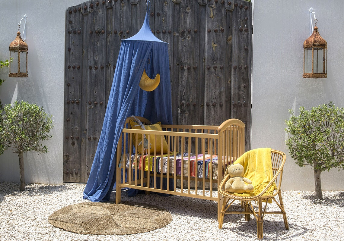 The Raja – Midnight Blue | Kids Bed Canopy or A Cosy Play Tent | Very Soft Muslin Cotton | Ideal for the Vintage Nursery or Boho Baby Room