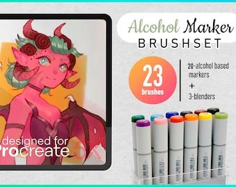 Copic inspired markers Brushset for Procreate (23 digital brushes) Sazor digital Alcohol brushes