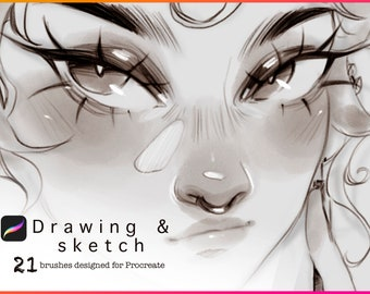 Sazor Sketch Procreate Brushset for Ipad (21 digital brushes) including pencils, pens, and an eraser brush!