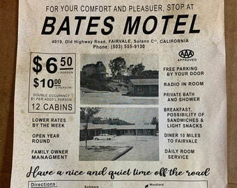 Bates Motel Flyer - A great place to stay and bring your Mom!