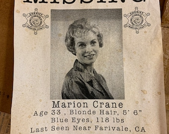 Marion Crane Missing Flyer - Psycho movie