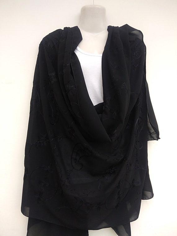 Beautiful Black embroidered shawl Black Pashmina P