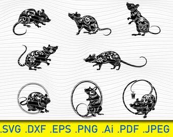 Rat SVG, Mouse Svg, Rodent Svg, Rat Clipart, Rat Files for Cricut, Rat Cut Files For Silhouette, Rat Dxf, Rat Png, Rat Eps, Rat Vector , Svg
