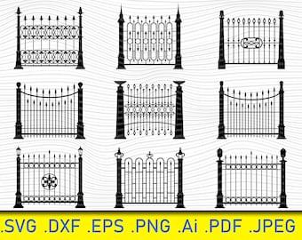 Iron Gates Fences, Gate Svg Clip Art, Fence Digital Cut File, Gate Dxf, Gate Vinyl Cut File, Gate Png File, Wrought Iron Gate SVG, Iron Gate