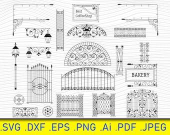 Gate Svg Clip Art, Fence Digital Cut File, Gate Dxf, Gate Vinyl Cut File, Gate Png File, Wrought Iron Gate SVG, Iron Gate Clipart.