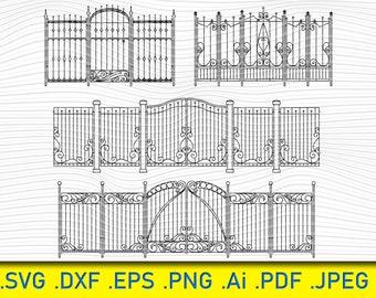 Gate Svg Clip Art, Fence Digital Cut File, Gate Dxf, Gate Vinyl Cut File, Gate Png File, Wrought Iron Gate SVG, Iron Gate Clipart