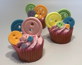 50 pastel Buttons   for cakes and cupcakes , edible fondant decorations for Birthday party's, christenings and more