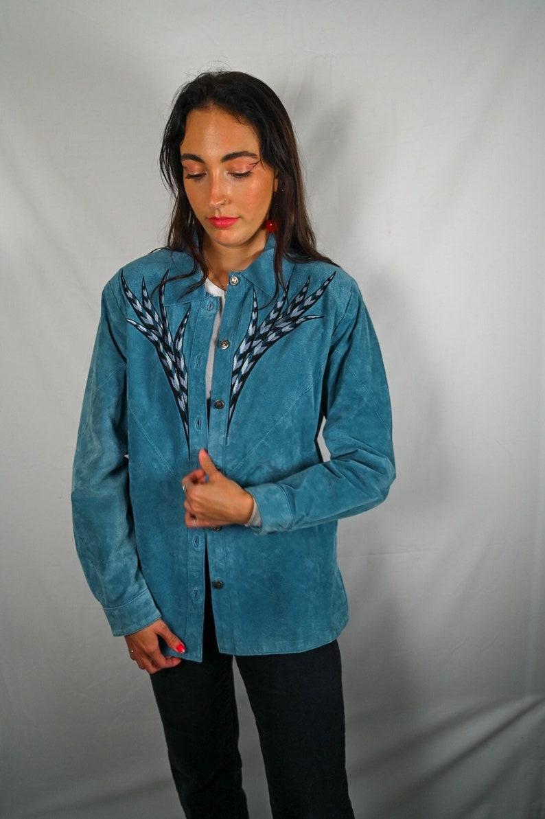 Bob Mackie Turquoise Suede Jacket
