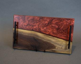 Large Walnut Charcuterie/Cheese Board/Serving Tray w/ Merlot Red Epoxy
